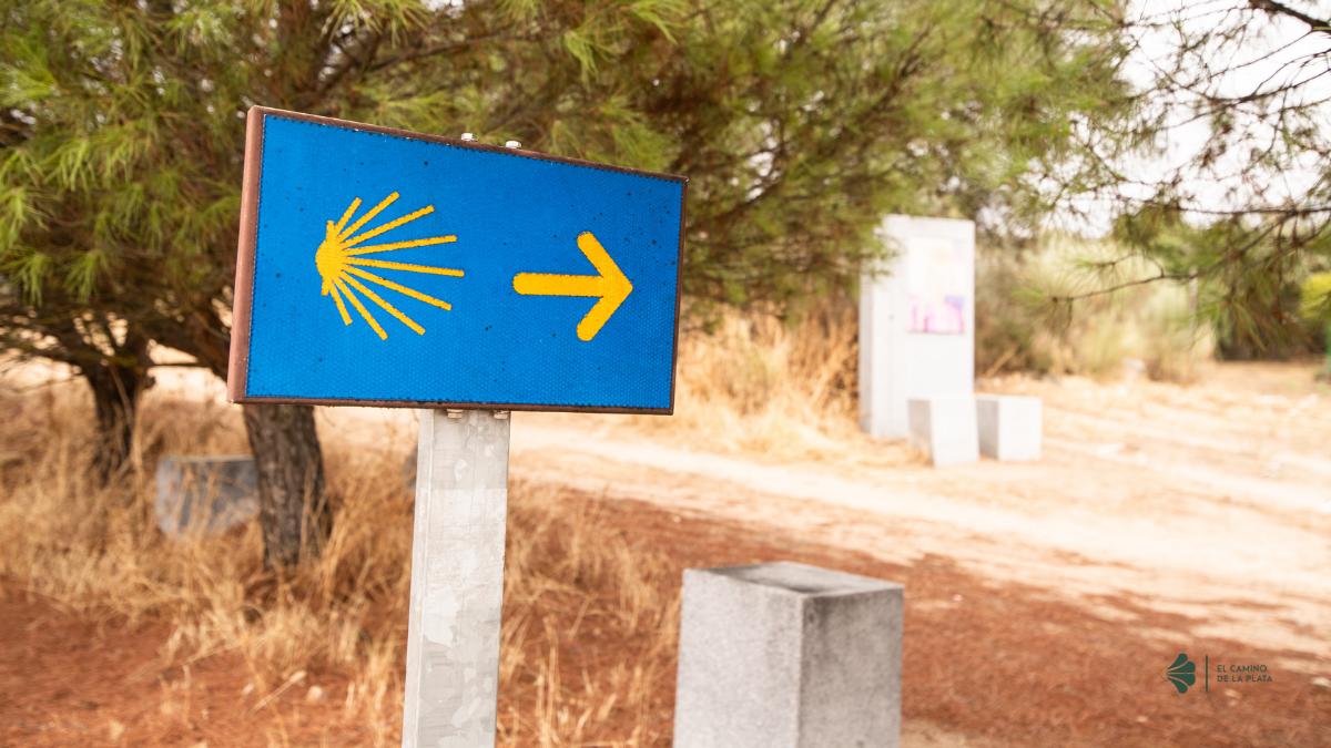flecha amarilla por el camino de la plata que nos guía a Santiago